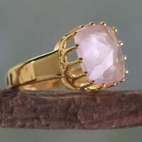 Handmade Gold Overlay 'Spell Of A Rose' Rose Quartz Ring (India)