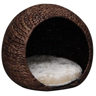 PetPals Cosmo Woven Water Hyacinth Cat House With Pillow