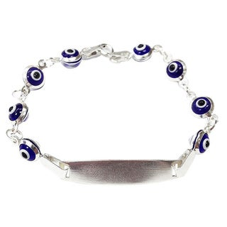 Sterling Silver Evil Eye Dark Blue Bracelet