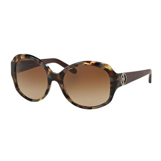 Tory Burch Women's TY7085 Tortoise Plastic Oval Sunglasses