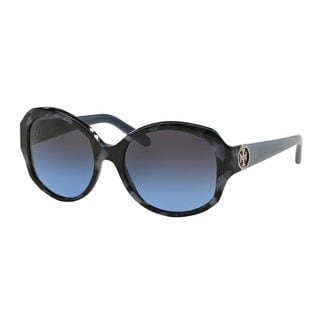 Tory Burch Women's TY7085 Navy Plastic Oval Sunglasses