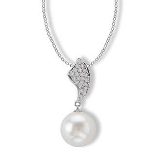 Avanti 14K White Gold 1/7ct TDW Diamond And Cultured Pearl Drop Necklace (G-H, SI2-SI3)
