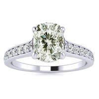14k White Gold 1 1/2ct. Solitaire Engagement Ring with 1ct. Clarity Enhanced Cushion-cut Center Diam - White H-I