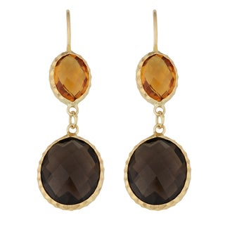 Fremada 14k Yellow Gold Citrine and Smoky Quartz Double Briolette Hook Earrings