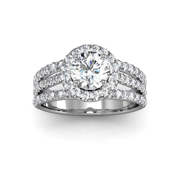 14k White Gold 2ct. Diamond Halo Engagement Ring with 1ct. Clarity Enhanced Solitare Center Diamond - White H-I