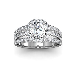 2.00 Carat Elegant And Big Looking Halo Engagement Ring With 70 Fiery Accent Diamonds In White Gold