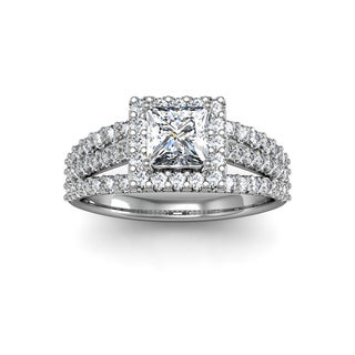 1.50 Carat Elegant Princess Cut Diamond Halo Engagement Ring With 70 Fiery Accent Diamonds In White