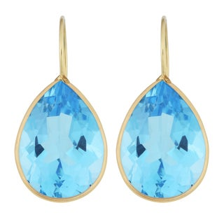 Fremada 14k Yellow Gold 13x18-mm Pear-shaped Blue Topaz Wire Earrings