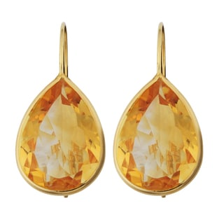 Fremada 14k Yellow Gold 13x18-mm Pear-shaped Citrine Wire Earrings