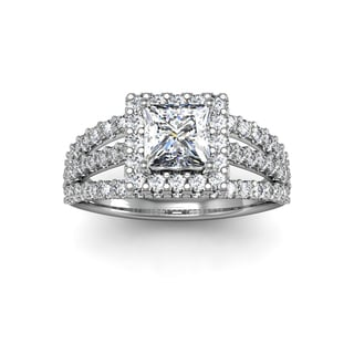 14k White Gold 2ct. Diamond Halo Engagement Ring with 1ct. Clarity Enhanced Princess-cut Center Diam - White H-I