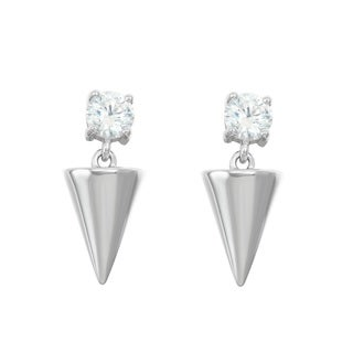 La Preciosa Sterling Silver Cubic Zirconia with Shiny Cylinder Earrings