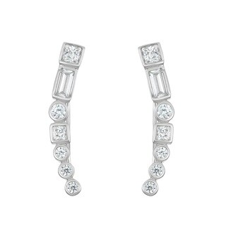 La Preciosa Sterling Silver Multi-Shaped Cubic Zirconia Ear Crawler Earrings