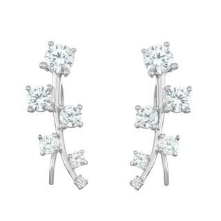 La Preciosa Sterling Silver Graduating Cubic Zirconia Curved Ear Crawler Earrings