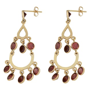 Fremada 14k Yellow Gold Garnet Chandelier Earrings