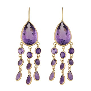Fremada 14k Yellow Gold Amethyst Chandelier Wire Earrings