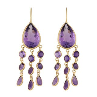 Amethyst chandelier earrings for less overstock fremada 14k yellow gold amethyst chandelier wire earrings mozeypictures Gallery