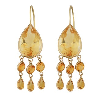 Fremada 14k Yellow Gold Pear-shaped Citrine Chandelier Wire Earrings