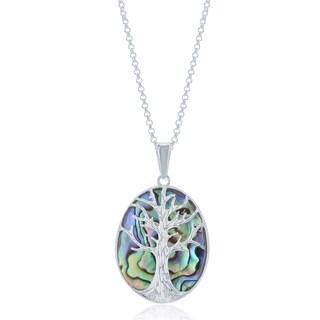 La Preciosa Sterling Siver Tree of Life Oval Necklace (Option: Abalone)