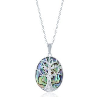 La Preciosa Sterling Siver Tree of Life Oval Necklace