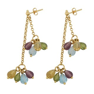 Fremada 14k Yellow Gold High Polish Double Strand Pear-shaped Multi Gemstones Drop Earrings