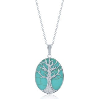 La Preciosa Sterling Silver Turquoise Tree of Life Oval Necklace