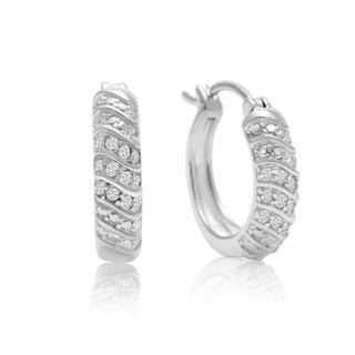 1/4 Carat 4-Row Diamond Hoop Earrings, 1/2 Inch