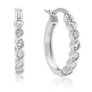 Diamond Accent Twist Hoop Earrings, 1/2 Inch