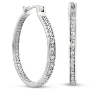 Platinum Over Brass 1/ 4ct TDW Diamond Thin In and Out Hoop Earrings (J-K, I2-I3)