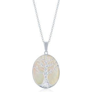 La Preciosa Sterling Silver Mother of Pearl Tree of Life Oval Necklace