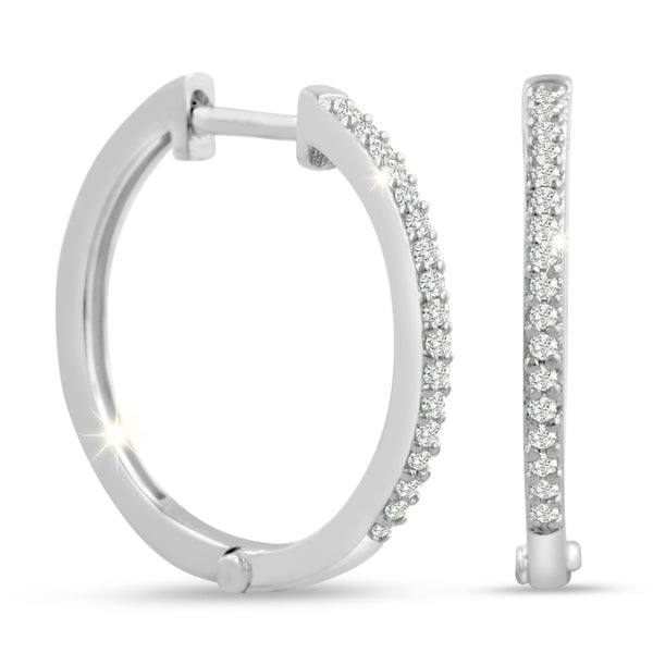 1/4ct Diamond Hoop Earrings In Sterling Silver, Hidden Snap Backs