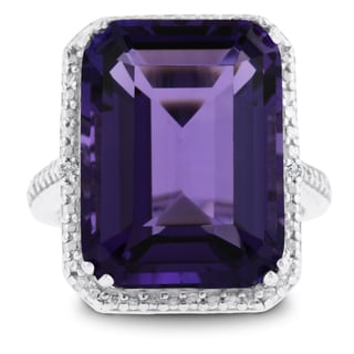 11 Carat Emerald Shape Amethyst and Diamond Ring In Sterling Silver