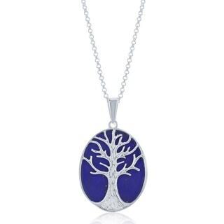 La Preciosa Sterling Silver Blue Lapis Tree of Life Oval Necklace
