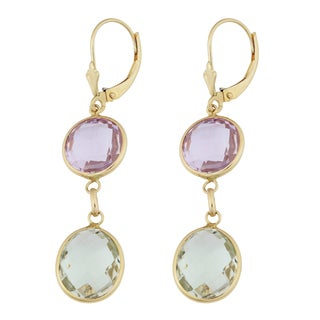 Fremada 14k Yellow Gold Round and Oval Amethysts Leverback Earrings
