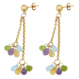 Fremada 14k Yellow Gold Multi Gemstone 2-strand Briolette Earrings