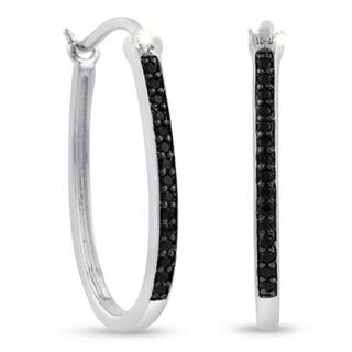 1/4ct Oval Shape Black Diamond Hoop Earrings, 1 Inch|https://ak1.ostkcdn.com/images/products/10889365/P17924242.jpg?impolicy=medium