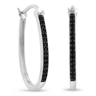 1/4ct Oval Shape Black Diamond Hoop Earrings, 1 Inch