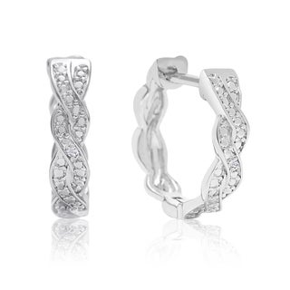 Diamond Swirl Hoop Earrings, 1/2 Inch, Hidden Snap Backs