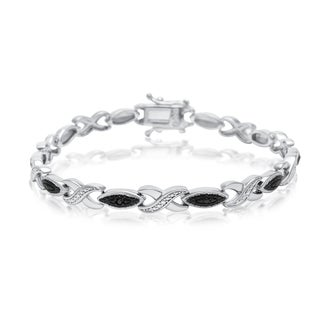 Black Diamond Accent XO Bracelet, Platinum Overlay, 7 Inches
