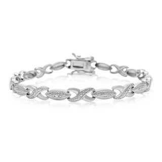Diamond Accent XO Bracelet, Platinum Overlay, 7 Inches