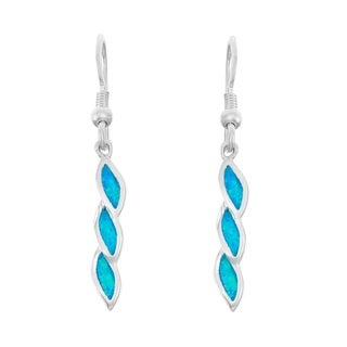 La Preciosa Sterling Silver Blue Opal and Cubic Zirconia Twisted Dangle Earrings