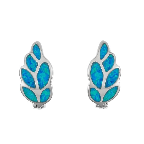 La Preciosa Sterling Silver Blue Opal Leaf Saddleback Earrings