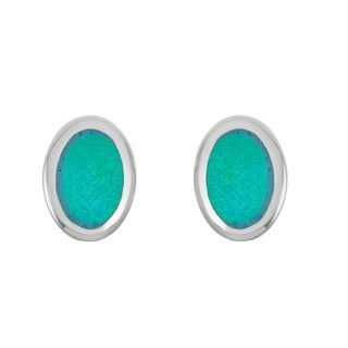 La Preciosa Sterling Silver Blue Opal Oval Stud Earrings