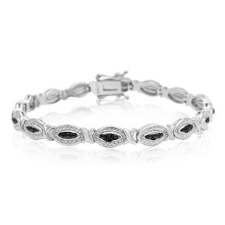 Black Diamond Accent Hugs and Kisses Bracelet, Platinum Overlay, 7 Inches