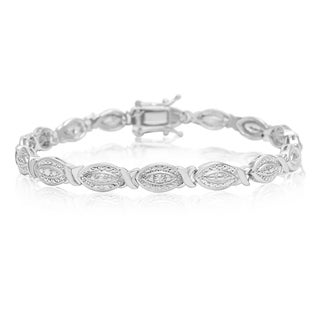 Diamond Accent Hugs and Kisses Bracelet, Platinum Overlay, 7 Inches