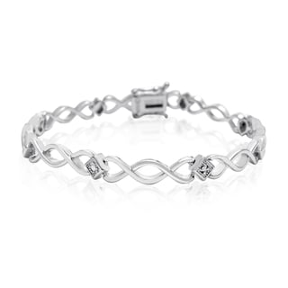 Dainty Diamond Accent Bracelet, Platinum Overlay, 7 Inches