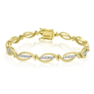 Yellow Gold Overlay Diamond Accent Flair Bracelet, 7 Inches