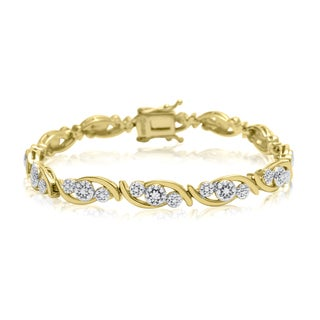 Yellow Gold Overlay Diamond Accent Cluster Bracelet, 7 Inches