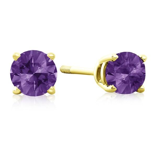 1/2 TGW Amethyst Stud Earrings in 14k Yellow Gold - Purple