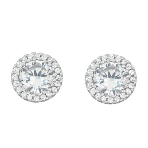 La Preciosa Sterling Silver Cubic Zirconia Circle Stud Earrings