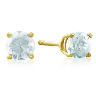 1/2 Carat Aquamarine Stud Earrings in 14k Yellow Gold